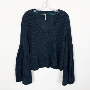 Free People | black bell sleeve knit sweater small